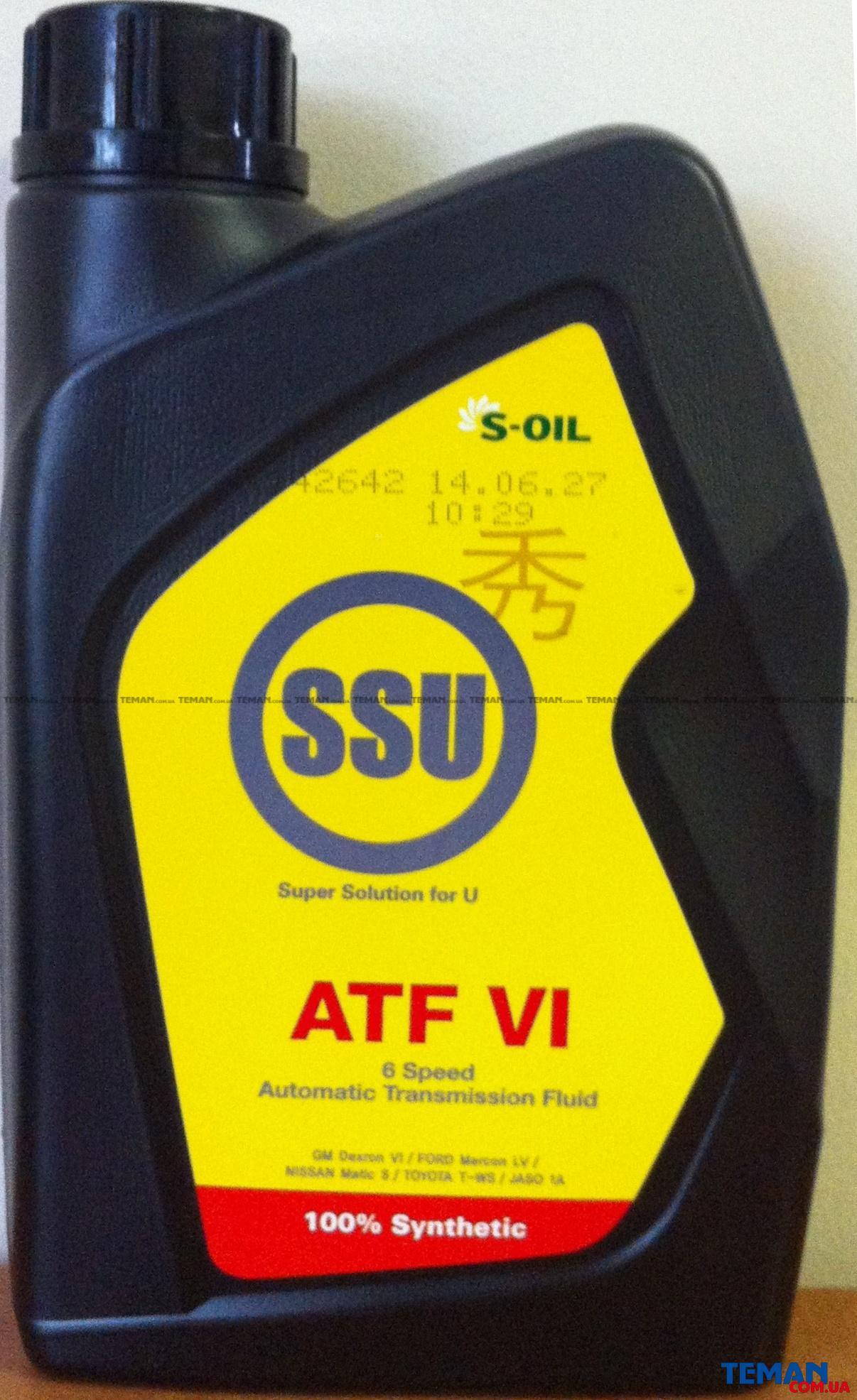 Синтетическое трансмиссионное масло SSU ATF VI EX, 1 л