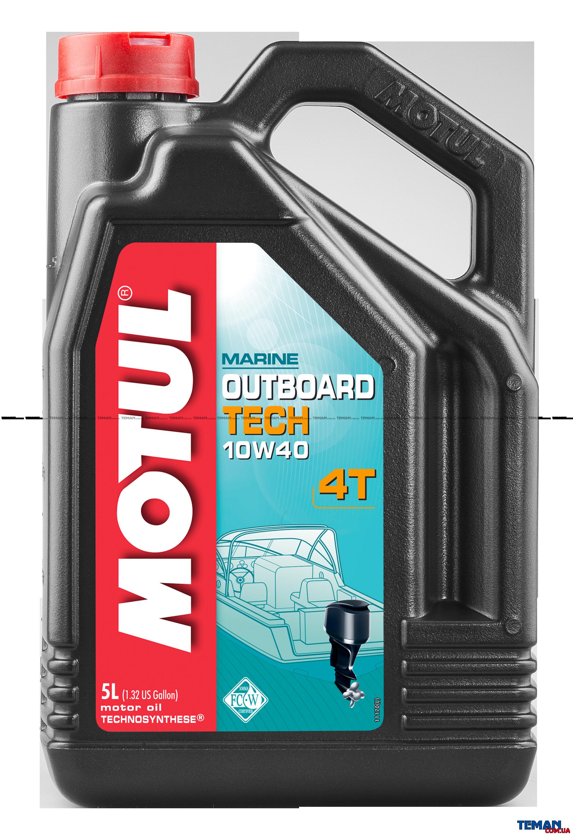 Масло для 4-х тактных бензиновых  двигателей Outboard Tech 4T SAE 10W40, 5 л