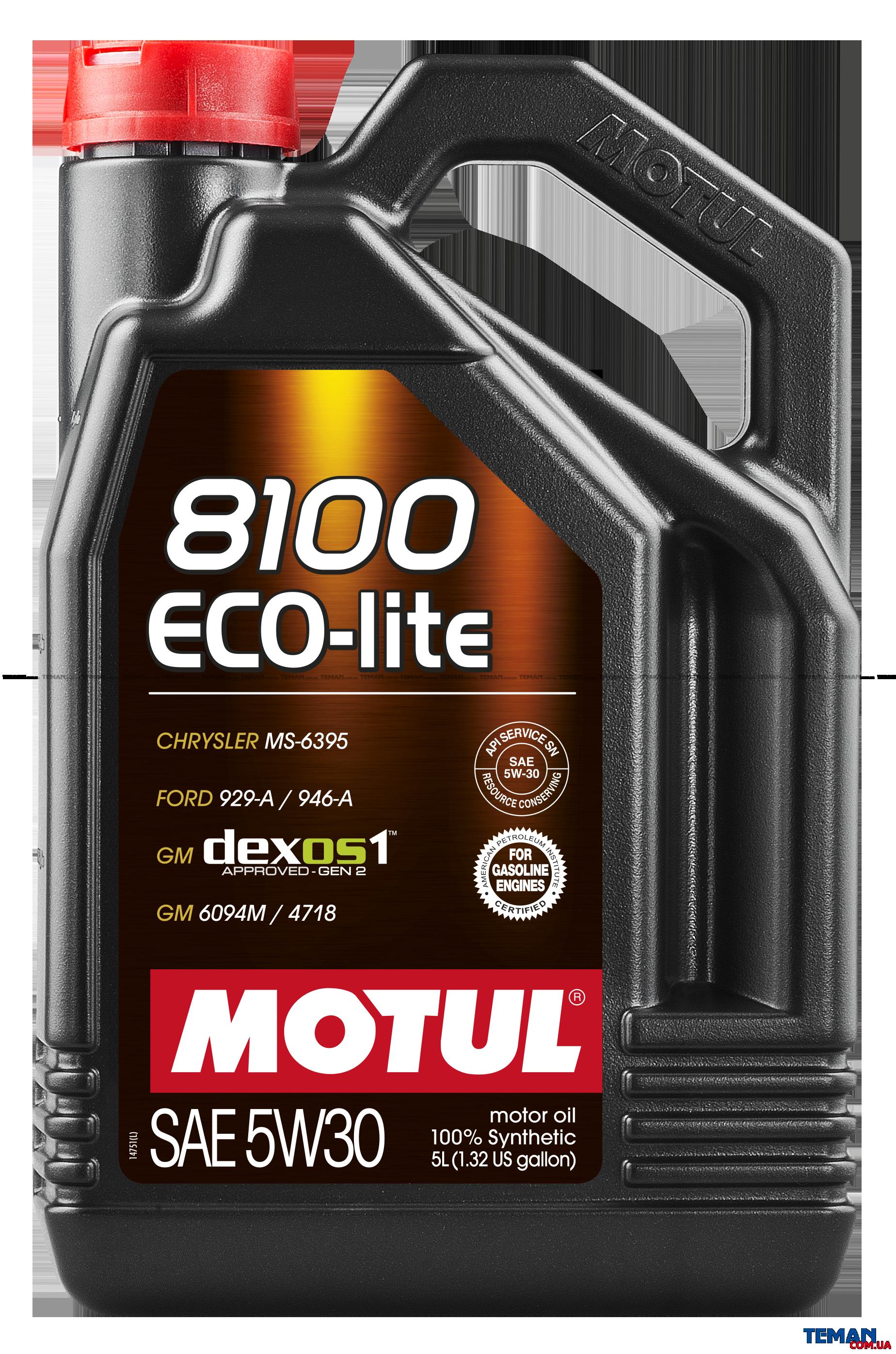 Синтетическое моторное масло 8100 Eco-lite SAE 5W30, 5 л