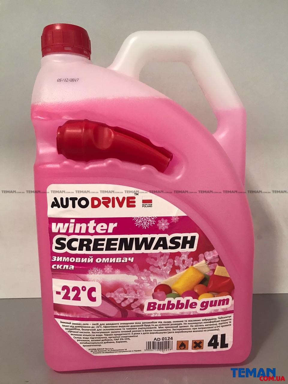 Купить Омыватель зимний Winter Screenwash -22 °C Bubble Gum  4л AUTO DRIVE ad0124