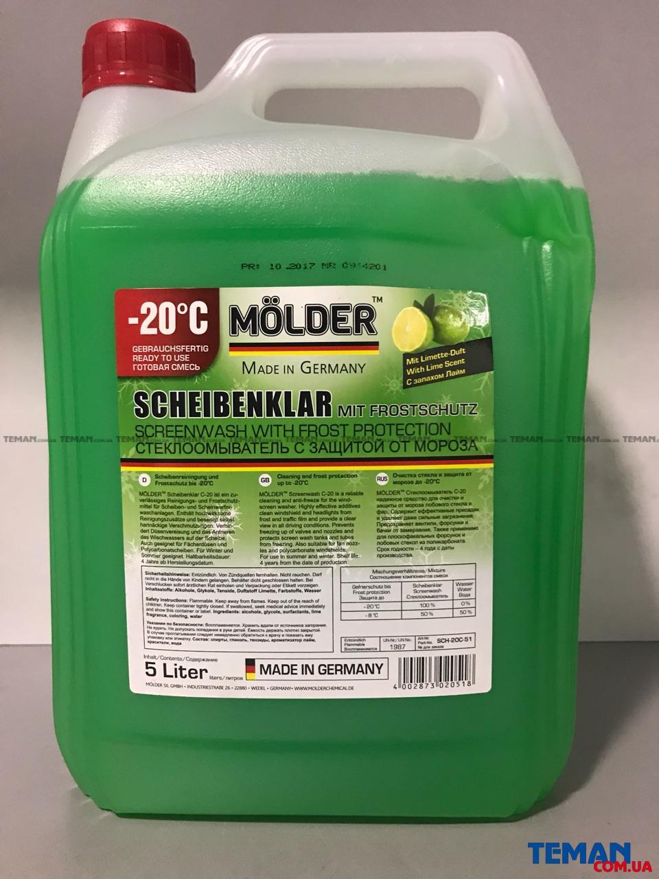 Купить  MOLDER Scheibenklar Screenwash With Frost Protection LIME 5L, -20*СMOLDER sch20c51
