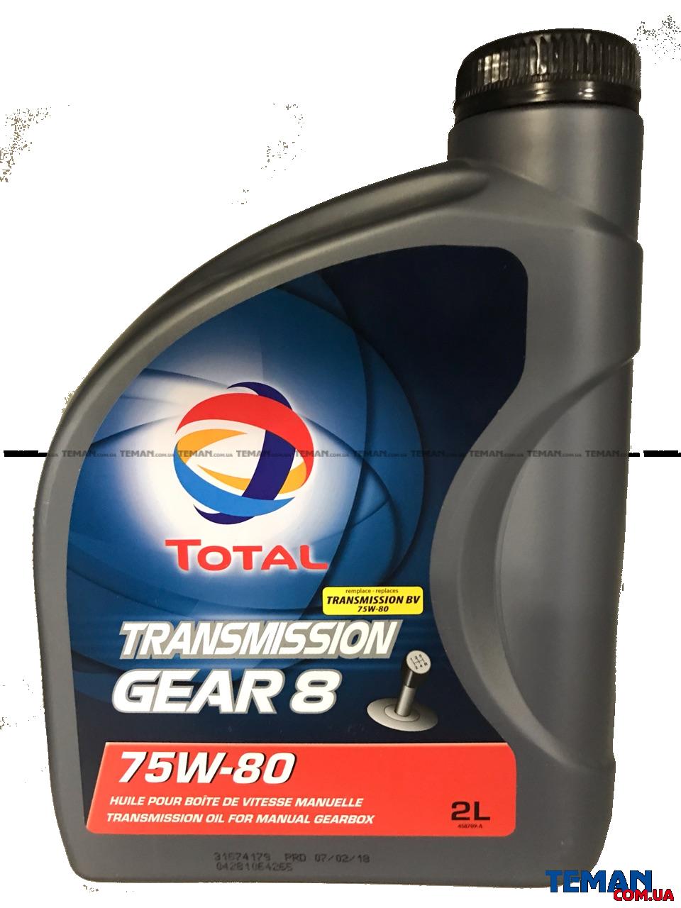 Купить Трансмиссионное масло TRANSMISSION GEAR 8 75W80, 2лTOTAL 201279