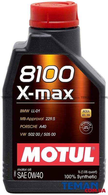 Синтетическое моторное масло 8100 X-max SAE 0W40, 1 л