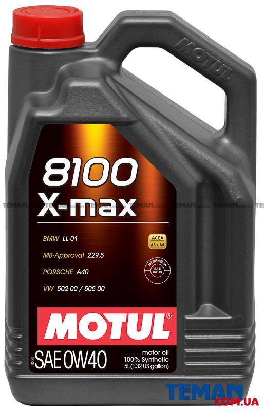 Синтетическое моторное масло 8100 X-max SAE 0W40, 5 л