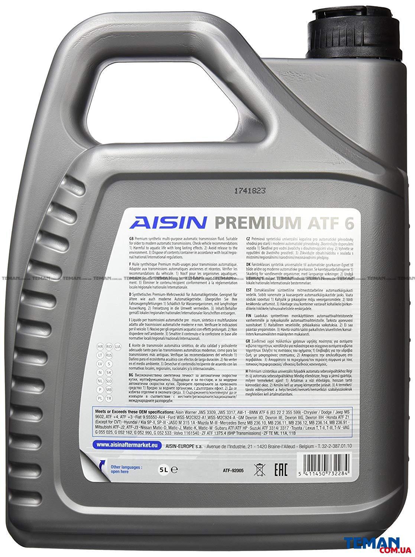 Купить Масло трансмиссионное PREMIUM ATF6 5лAISIN atf92005