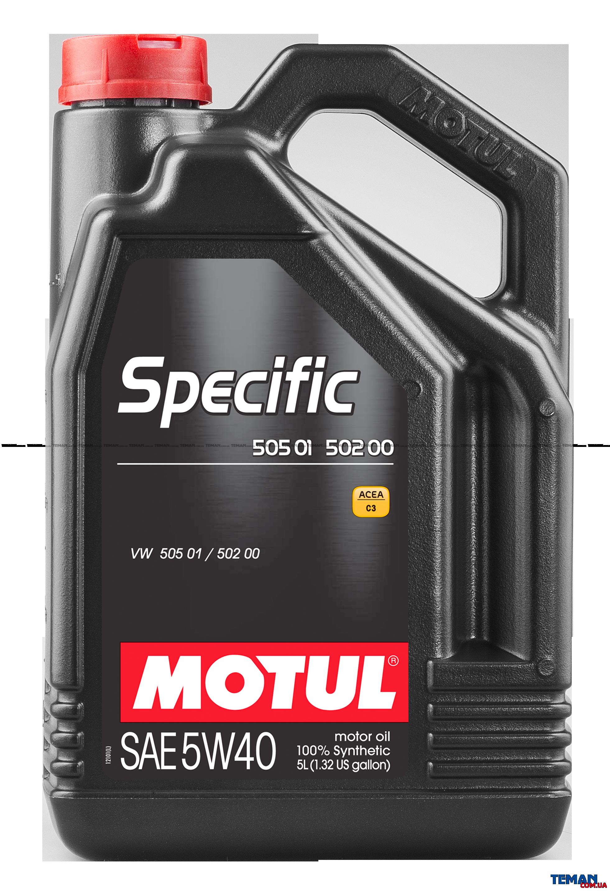 Синтетическое моторное масло SPECIFIC 505 01 - 502 00, 5W-40, 5 л