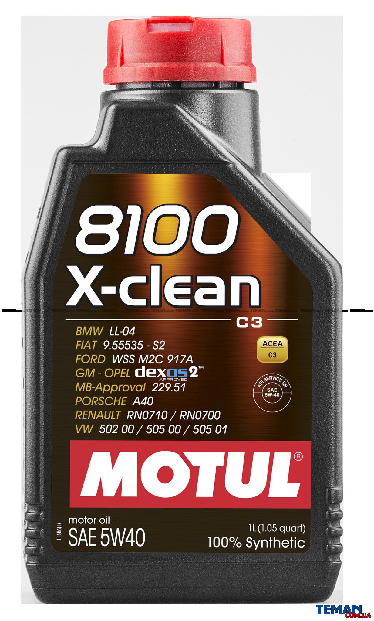 Синтетическое моторное масло 8100 X-clean SAE 5W40, 1 л
