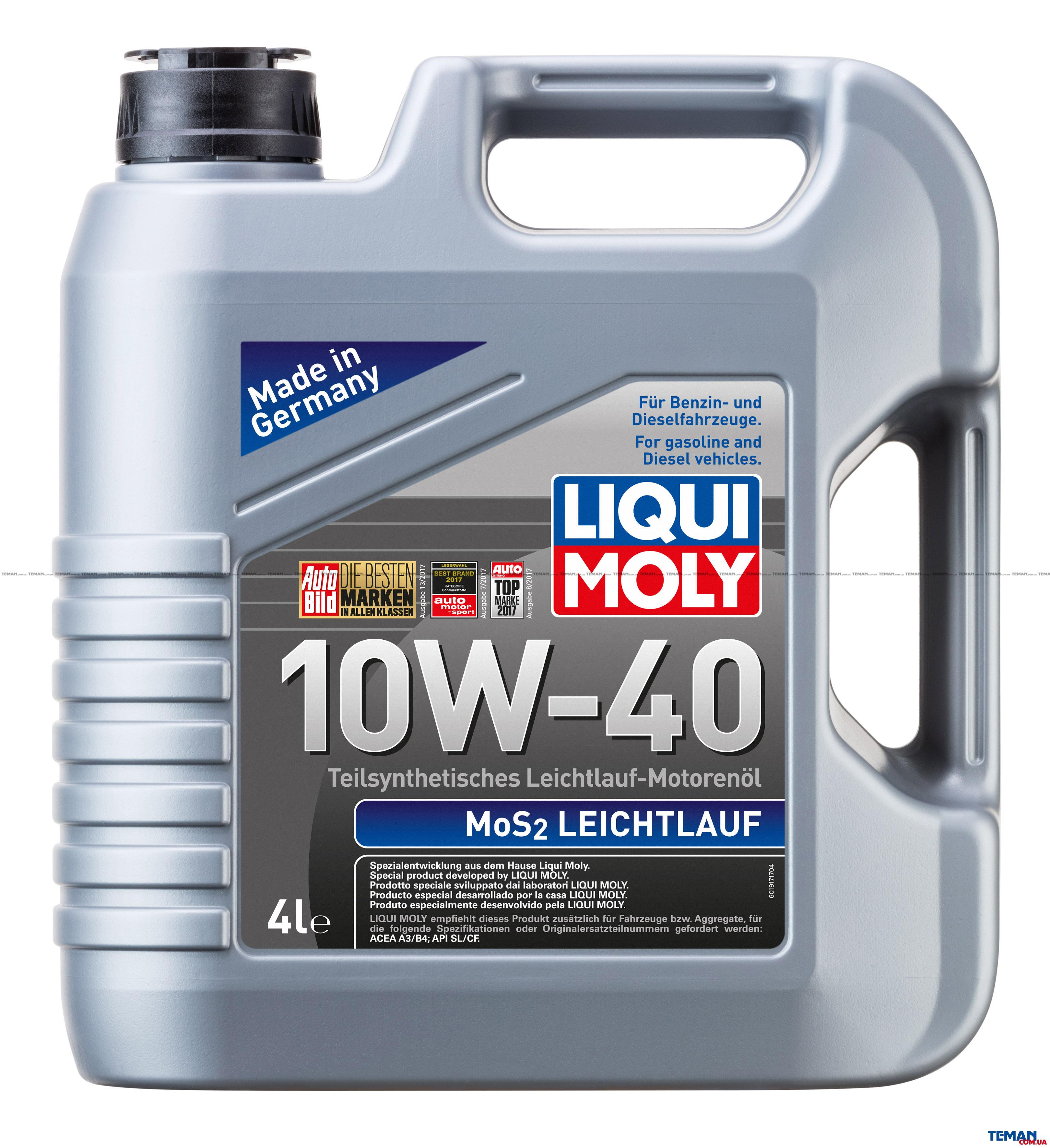 liqui moly mos2 leichtlauf 10w 40 4 1917. Black Bedroom Furniture Sets. Home Design Ideas