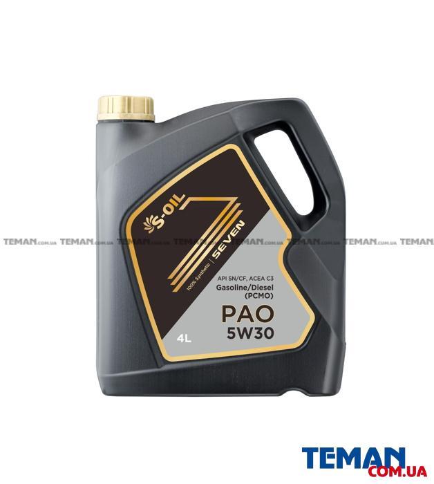 S-OIL SEVEN PAO 5W30 4л синтетическое, универсальное
