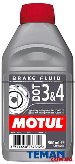 Жидкость для гидравлических тормозных приводов и сцеплений DOT 3&4, 0,5 л