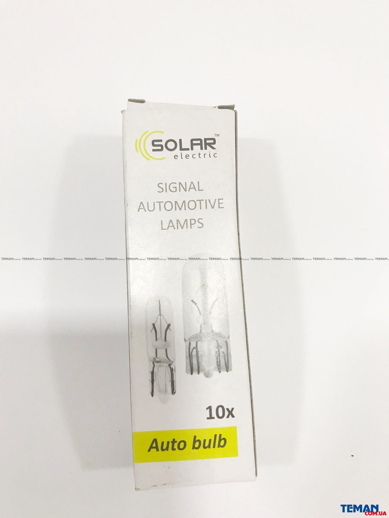 Купить 'SOLAR Автолампа  W1.2W 24V 1.2W W2x4.6d (10шт.) 'SOLAR 2463