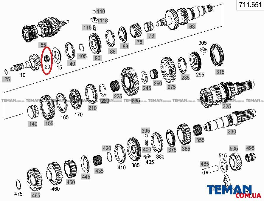 Купить Подшипник (роликовый) первичного/вторичного вала КПП VW CrafMERCEDES BENZ 0009813811