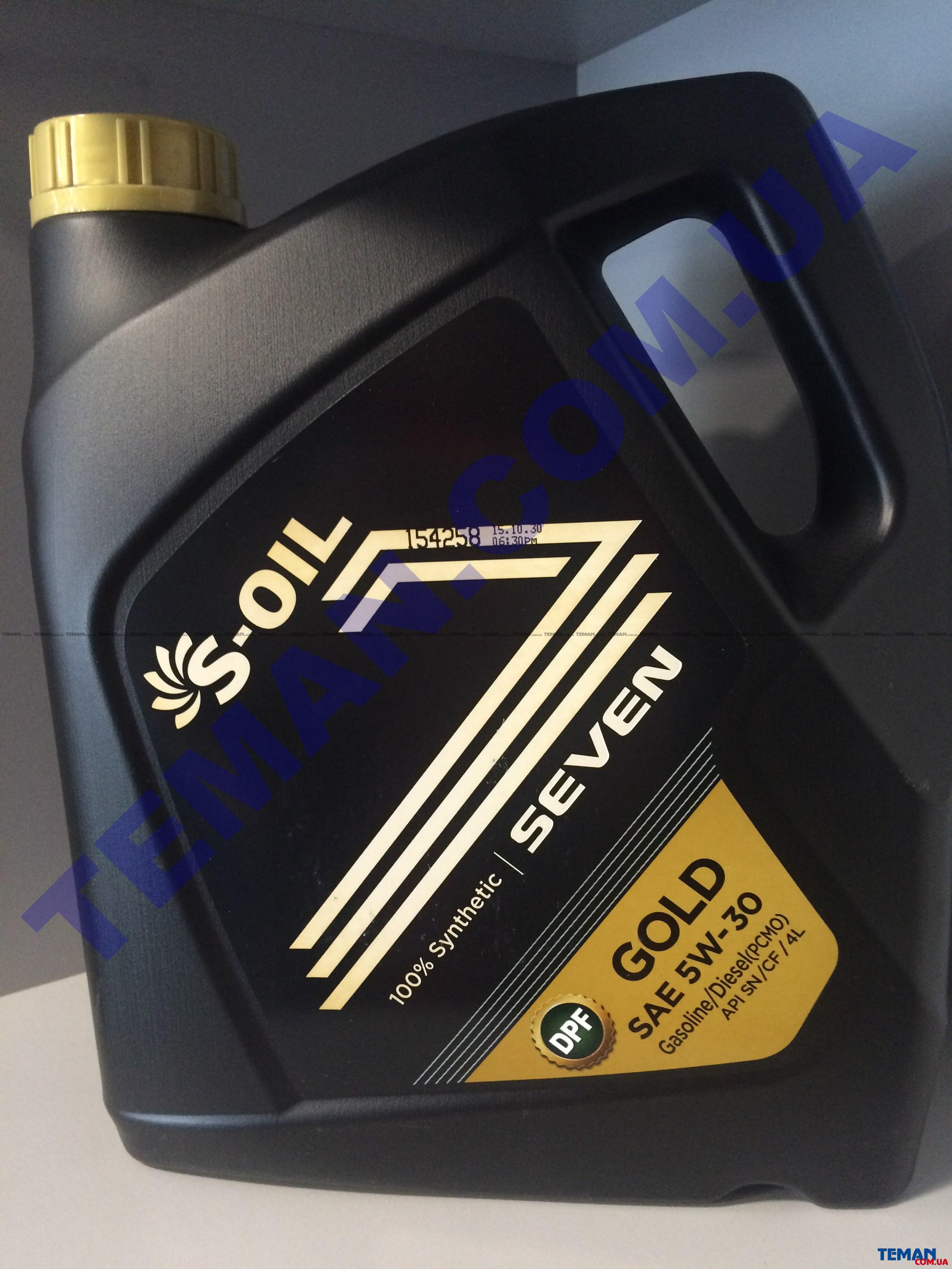 Купить Синтетическое  моторное масло SEVEN GOLD 5W30, 4 лS-OIL SEVENGOLD5W304