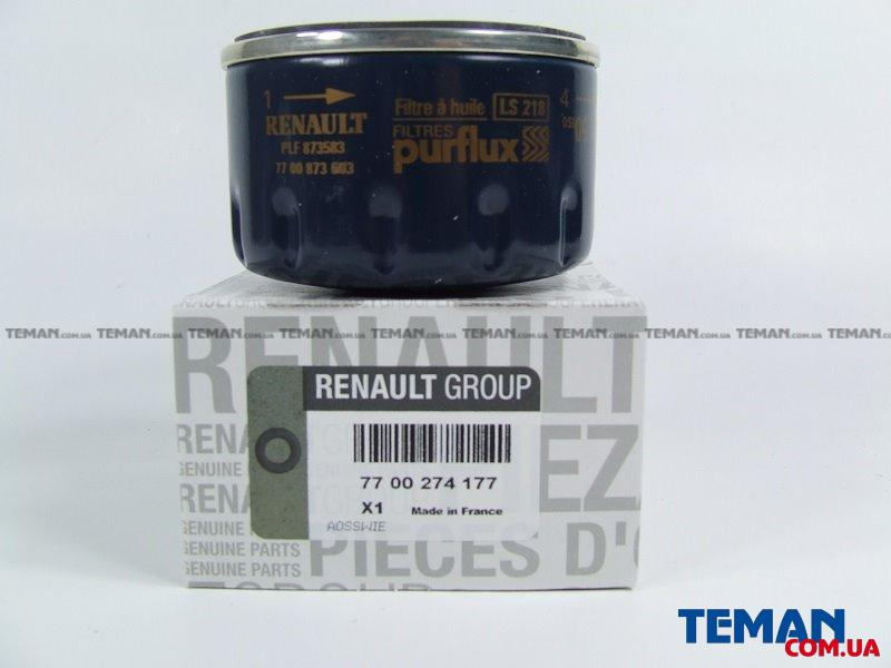 Купить Фильтр масляный  Kangoo 1.9D/1.5dCi/1.4i/1.6i/Trafic/Vivaro h=50mm (низкий)RENAULT 7700274177