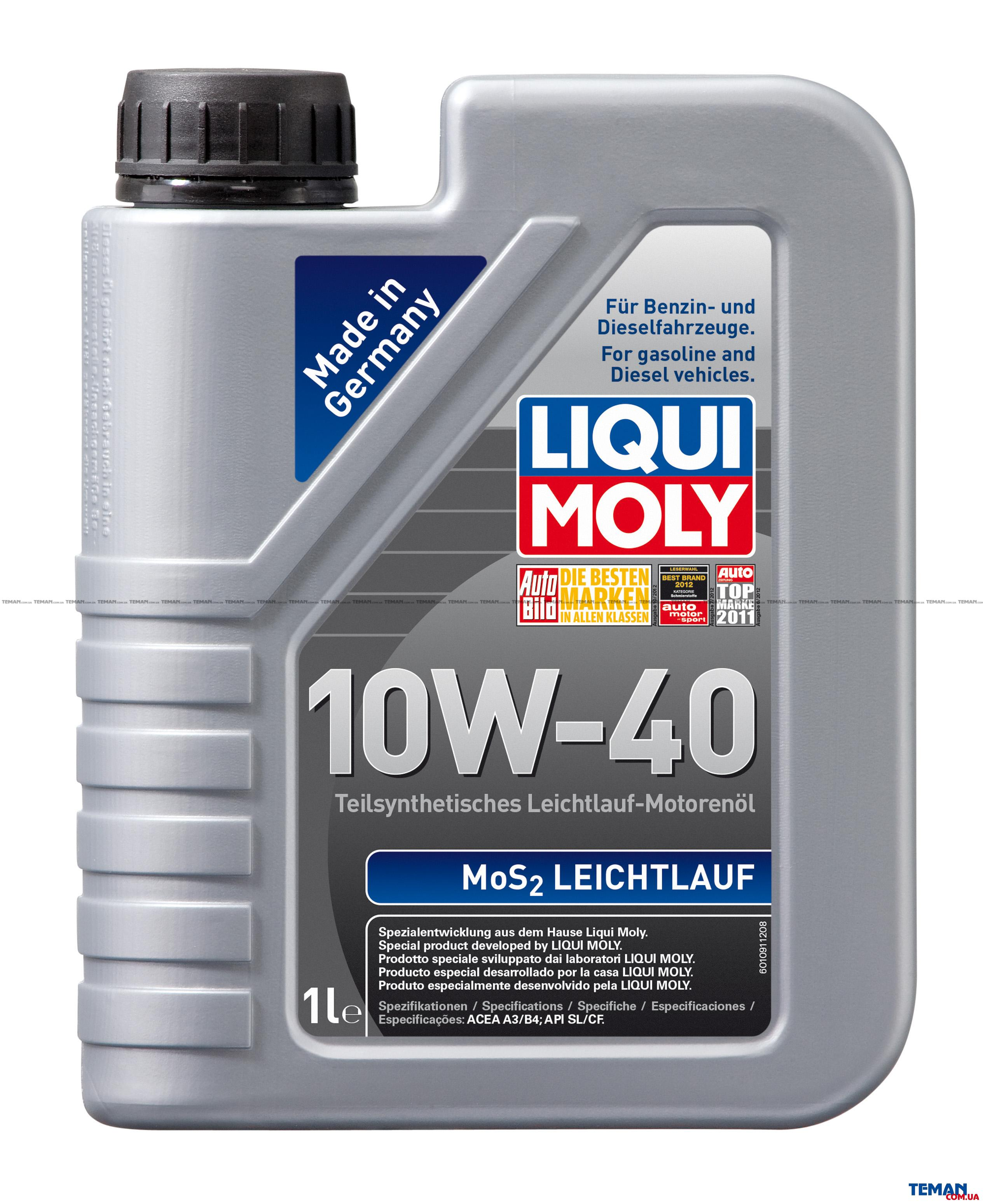 Полусинтетическое моторное масло MoS2 Leichtlauf 10W-40, 1л