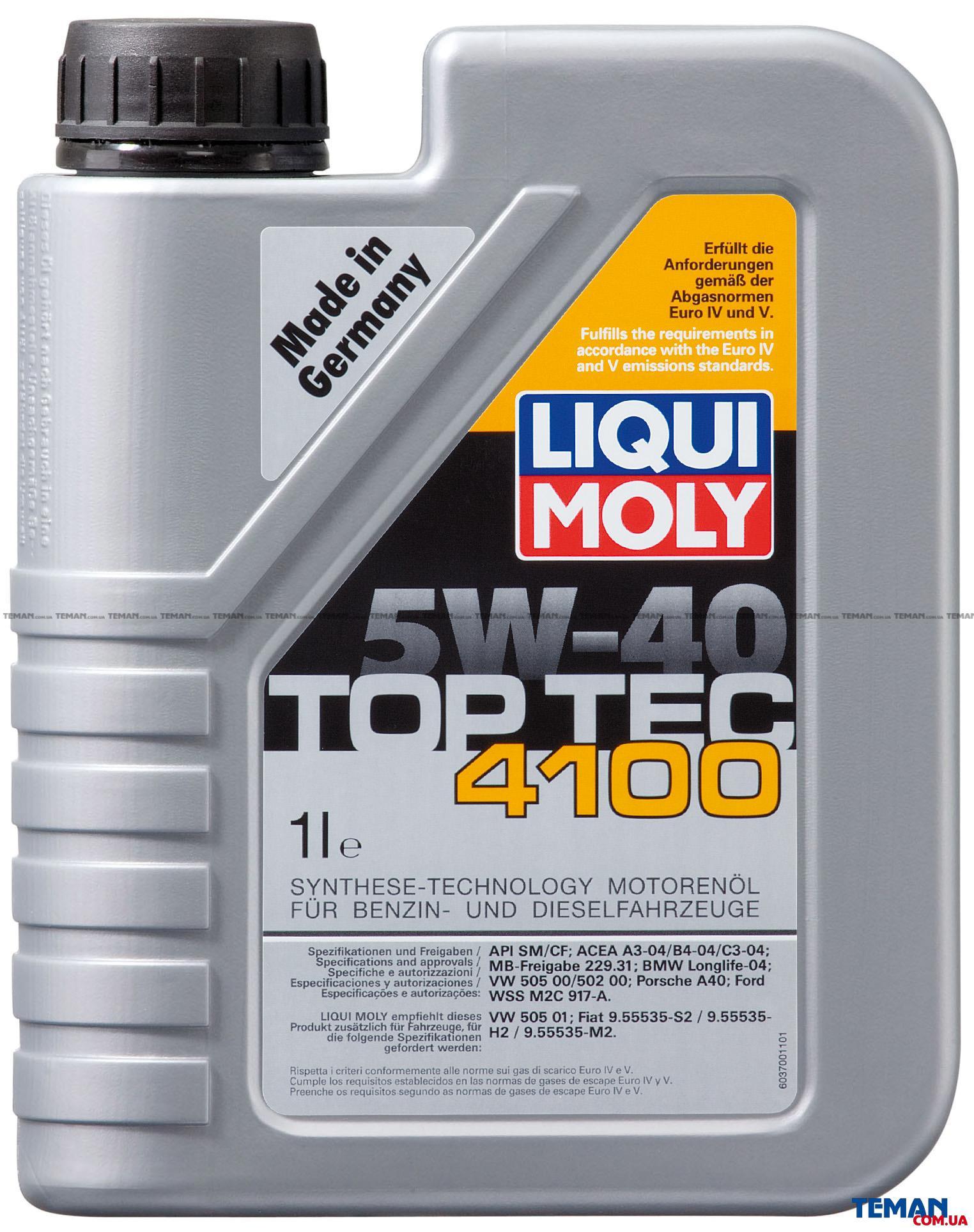 НС-синтетическое моторное масло Top Tec 4100 5W-40