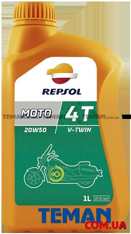 Минеральное моторное масло для 4Т двигателей Repsol Moto V-Twin 4T 20W50, 1л