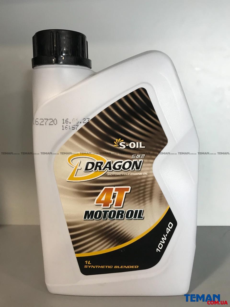 Моторное масло DRAGON 4T MOTOROIL 10W40  для 4-х тактных  двигателей, 1 л