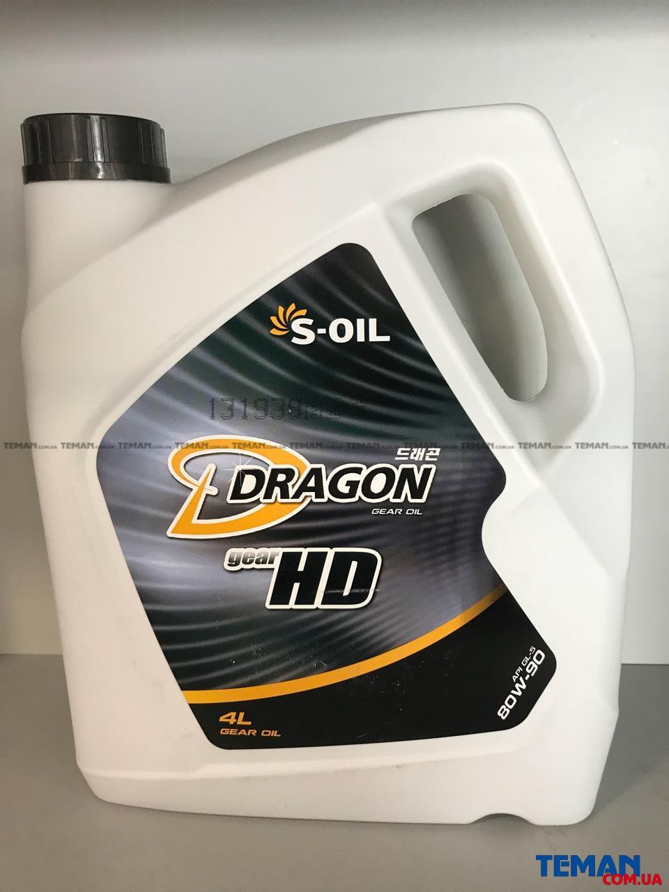 Купить Трансмиссионное масло DRAGON GEAR HD 80W90, 4 лS-OIL DRAGONGEARHD80W904