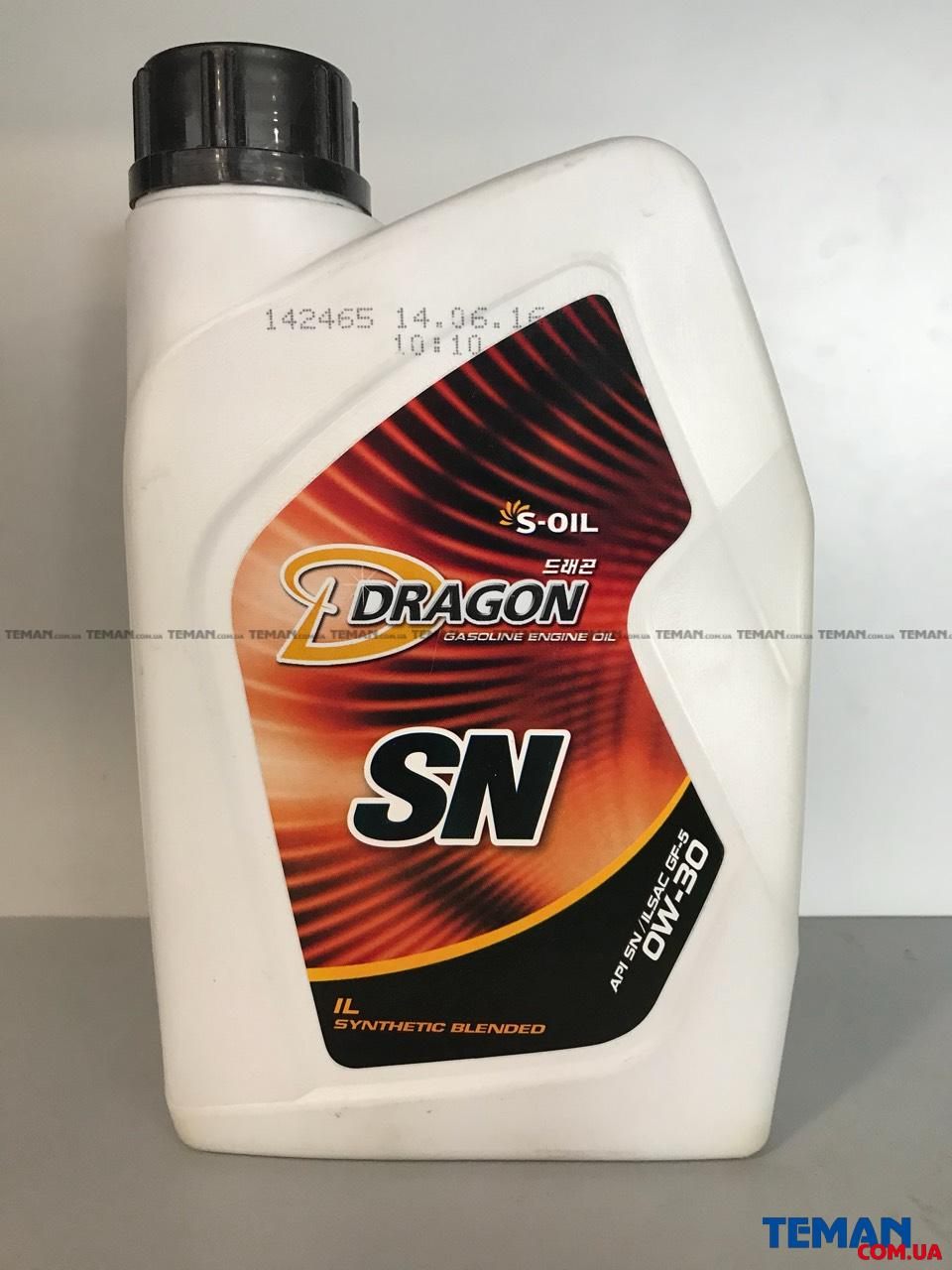 Синтетическое моторное масло DRAGON SN 0W30, 1 л