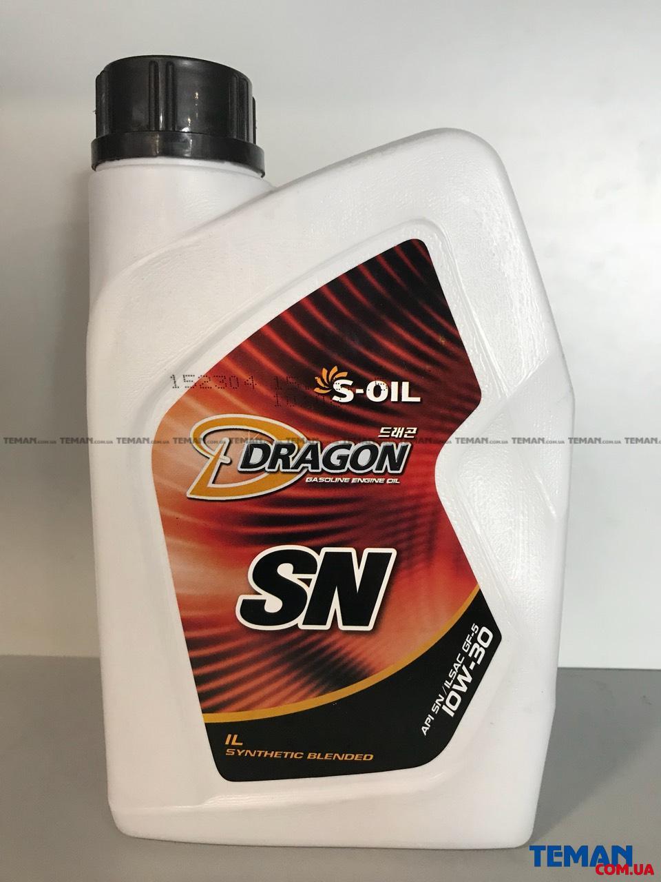 Полусинтетическое моторное масло DRAGON SN 10W30, 1 л
