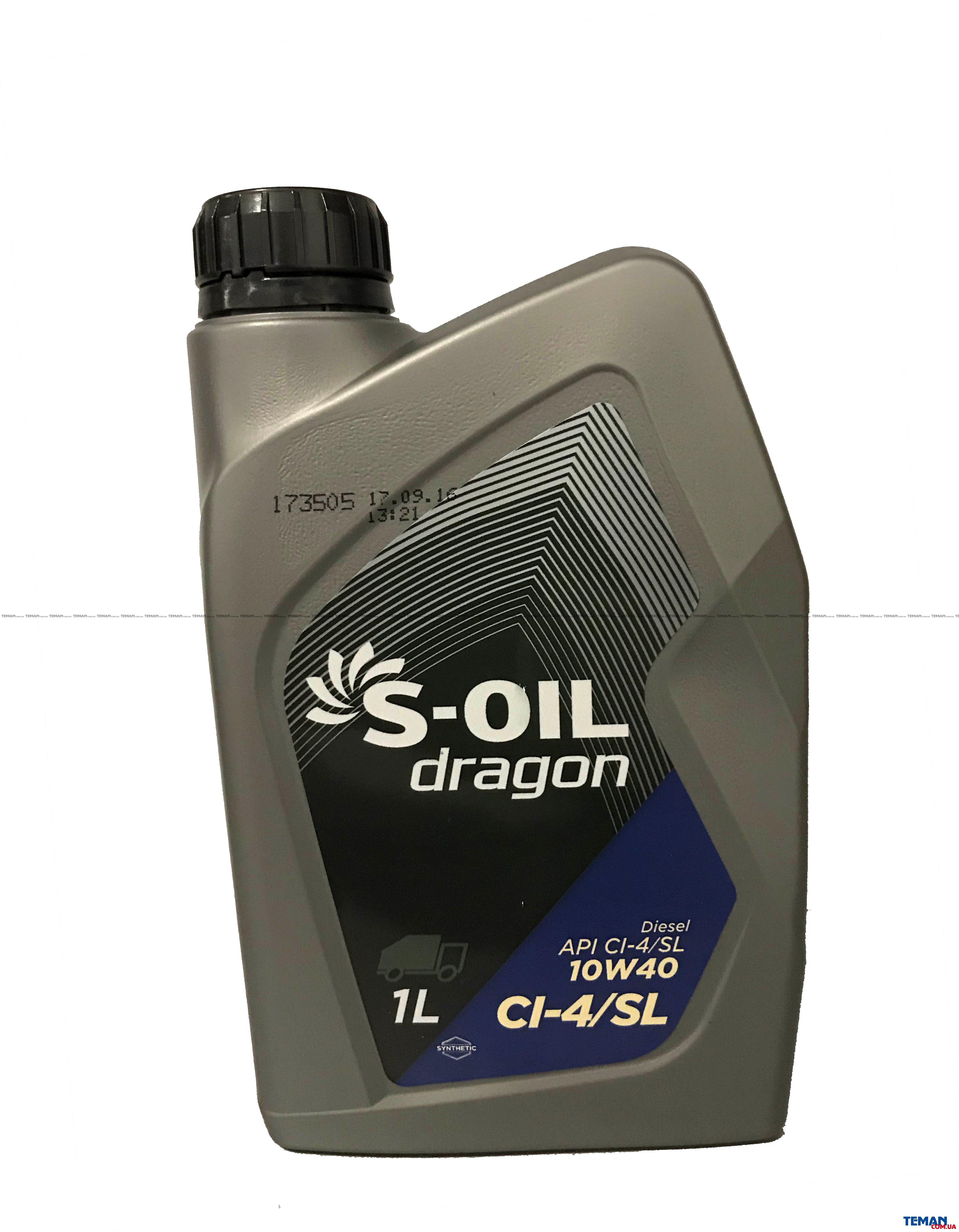 Cинтетическое моторное масло DRAGON CI-4/SL 10W40 1л